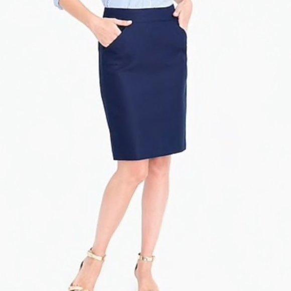J. CREW The Pencil Skirt Navy Blue Women's 2 EUC